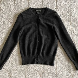 100% Cashmere Lord & Taylor Charcoal Grey Cardigan